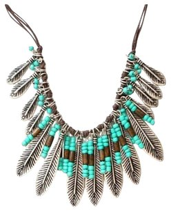 Bohemian Style Silver Resin Turquoise Bead Metal Leaf Tassel Necklace