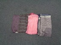 Other Boutique Lot Of Four Pink Purple And Blue Scarves Silk Blend B3038