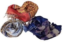 Other Boutique Lot Of Silk Scarves Purple Blue Geo Blue Gold Red Yellow Plaid B3275