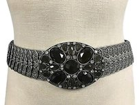 Boutique Silver Tone Mixed Metal Green Oval Rhinestone Detail Stretch Belt B3379