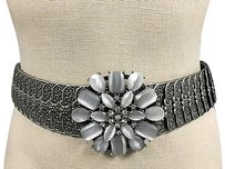 Other Boutique Silver Tone Mixed Metal White Rhinestone Encrusted Stretch Belt B3379