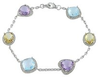 Sterling Silver Amethyst Blue Topaz And Citrine Bracelet 7 11.22 Ct