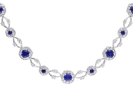 Other Sterling Silver Blue And White Sapphire Necklace Strand 16 10.58 Ct
