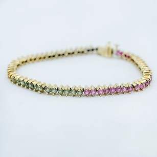 Bracelet In 14k Yellow Gold With Emerald Ruby Sapphire Stones 10.1 Grams 7.5