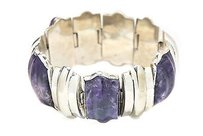 Other Bracelet Vintage Purple Amethyst Stone Appx 100ct Sterling Silver 75.1grams