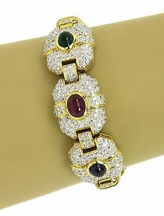 Breathtaking 18k Yellow Gold Cts Diamonds Cts Gems Ladies Bracelet