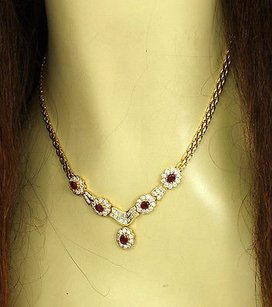 Breathtaking 6cts Diamonds Rubies Ladies Floral Drop 18k Ygold Necklace