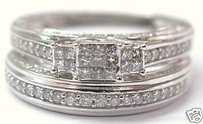 Fine Invisible Diamond Two Ring Wedding Set 14kt 0.80ct