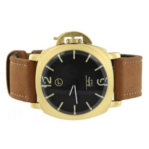 Brown Leather Band Watch Gold Tone Black Dial Stainless Steel Back Analog Mm