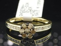 Brown Flower Diamond Engagement Ring 10k Yellow Gold Promise Band 12 Ct.
