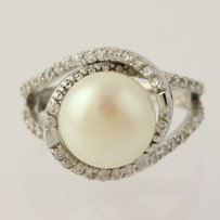 Other Button Pearl Cubic Zirconia Fashion Ring - 925 Sterling Silver Band Womens