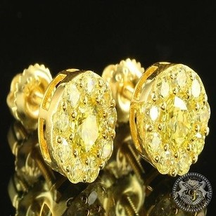 Canary Lab Diamond Unisex 14k Yellow Gold Finish Custom Bling Icy Round Earring