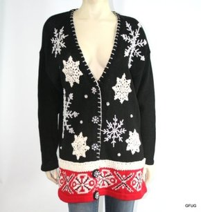 Victoria Jones Red Black Sweater