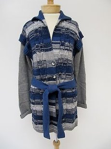 Other Womens Signature Saks 5th Ave Blue Stripe Button Tie Cardigan Sweater