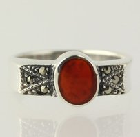 Other Carnelian Ring - Sterling Silver Womens Marcasites Fashion Deep Orange Fine