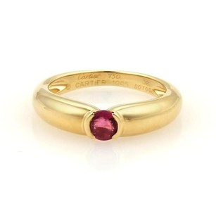 Cartier Semi Bezel Set Ruby 18k Ygold Solitaire Band Ring 52-us 6.25