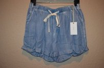 Misses Laju Denim Wash Loose Shorts Blue