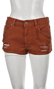 Other Car Mar Womens Burnt Denim Distressed Casual Shorts Orange