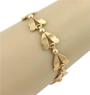 Retro 14k Yellow Gold 14mm Fancy Tulip Link Bracelet