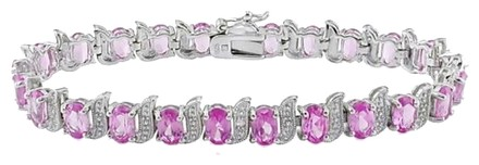 Other Sterling Silver Pink Sapphire Diamond Link Bracelets 14.53 Ct Cttw H-i I3 7.25