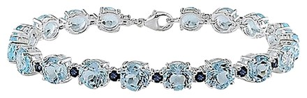 Other Sterling Silver Blue Topaz And Sapphire Link Bracelet 7.75 29.52 Ct