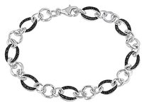 Sterling Silver Black Accent Diamond Link Bracelet 0.25 Ct Ct 7.5