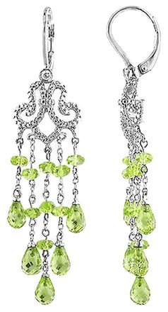 Other Sterling Silver 9.52 Ct Peridot And Diamond Dangle Chandeleir Leverback Earrings