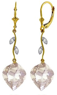 25.62 Ct 14k Yellow Gold Diamond and White Topaz Chandelier Earrings
