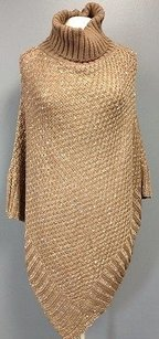 Other Charlie Paige Brown Acrylic Sequin Accented Turtleneck Poncho Os Sma 2155