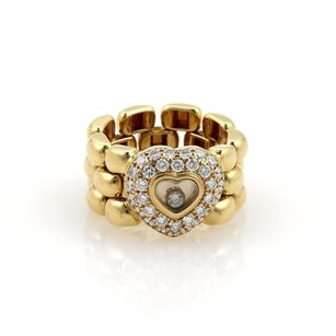 Chopard Happy Diamond 18k Yellow Gold Heart Panter Chain Flex Band Ring