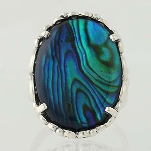 Chunky Abalone Statement Ring Sterling Silver Oval Blue Green Shell 9.25-9.5