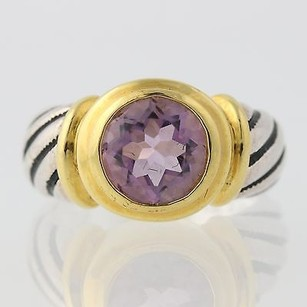 Other Chunky Amethyst Ring - Round Solitaire 2-toned Sterling Silver 2ct