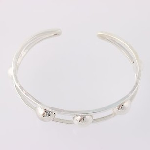Chunky Bead Accents Cuff Bracelet - Sterling Silver 925 Handmade Mexico Bangle