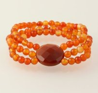 Other Chunky Beaded Bracelet - Orange Agate 3-strand Stretch Band Womens Silver