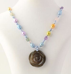 Chunky Beaded Flower Necklace Agate Pearl Rose Quartz Amethyst Silver Clasp