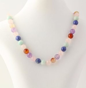 Chunky Beaded Necklace - Sodalite Amethyst Rose Quartz Agate Silver Clasp