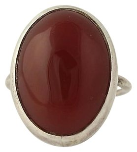 Other Chunky Carnelian Ring - Sterling Silver Red Stone Oval Solitaire