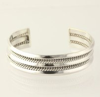 Chunky Cuff Bracelet - 925 Sterling Silver Band Womens Fine Estate Braided 5.5