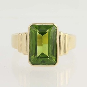 Chunky Peridot Ring - 14k Yellow Gold Solitaire Cocktail Birthstone 6.89ct