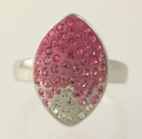 Chunky Pink White Rhinestone Ring - Sterling Silver Womens 925