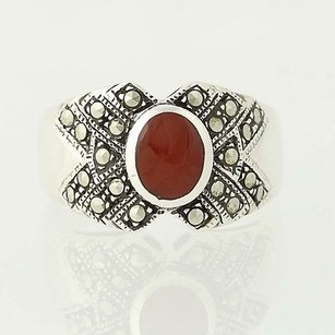 Other Chunky Red Carnelian Marcasite Ring - Sterling Silver 7.75 Oval Solitaire