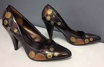 Other Unlisted Patent Gold Polka Dot Accent B2907 Brown Pumps