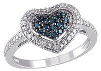 Other Sterling Silver 14 Ct Blue White Diamond Tw Heart Love Cluster Ring Gh I1i2