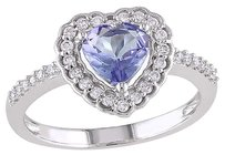 Other 10k White Gold 15 Ct Diamond And 58 Ct Tanzanite Heart Love Ring Gh I1i2