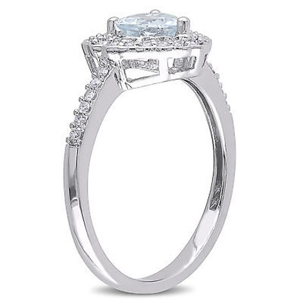 Other 10k White Gold 15 Ct Diamond And 58 Ct Aquamarine Heart Love Ring Gh I1i2