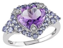 Other 10k White Gold Diamond And 3.07 Ct Amethyst Tanzanite Love Heart Love Ring