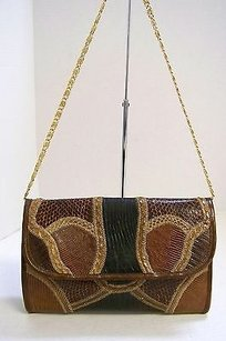 Varon Vintage Genuine Snake Browns Clutch