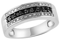 Sterling Silver 14 Ct Tw Round Black Diamond Fashion Ring 925