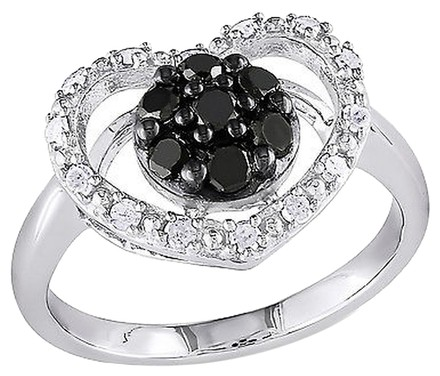 Other Sterling Silver 12 Ct Tw Black And White Diamond Heart Love Ring Gh I3