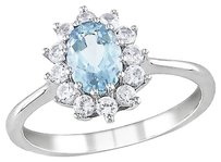 1 110 Ct Tgw Aquamarine White Sapphire Cluster Fashion Ring In Sterling Silver
